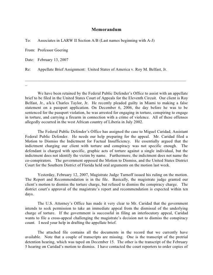 MemorandumTo:    Associates in LARW II Section A/B (Last names beginning with A-J)From: Professor GoeringDate: February 13...