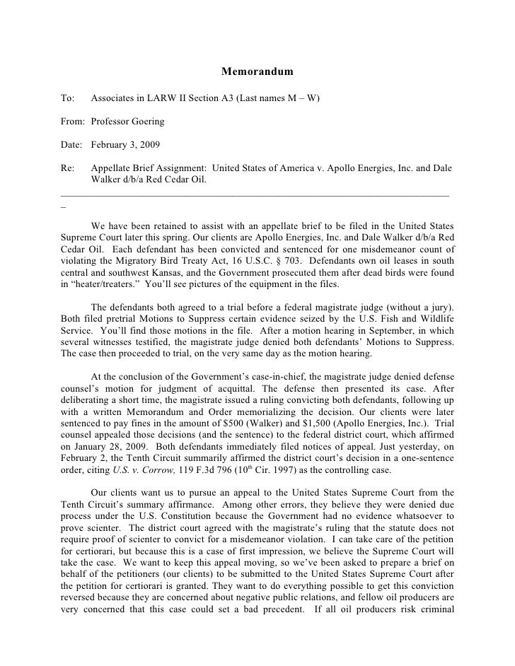 MemorandumTo:    Associates in LARW II Section A3 (Last names M – W)From: Professor GoeringDate: February 3, 2009Re:   App...