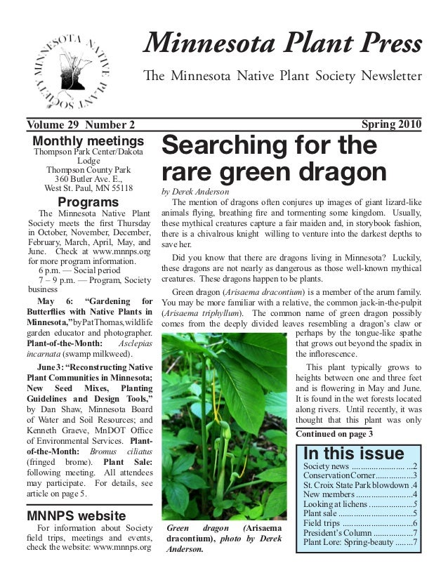 Minnesota Plant Press                               The Minnesota Native Plant Society NewsletterVolume 29 Number 2       ...