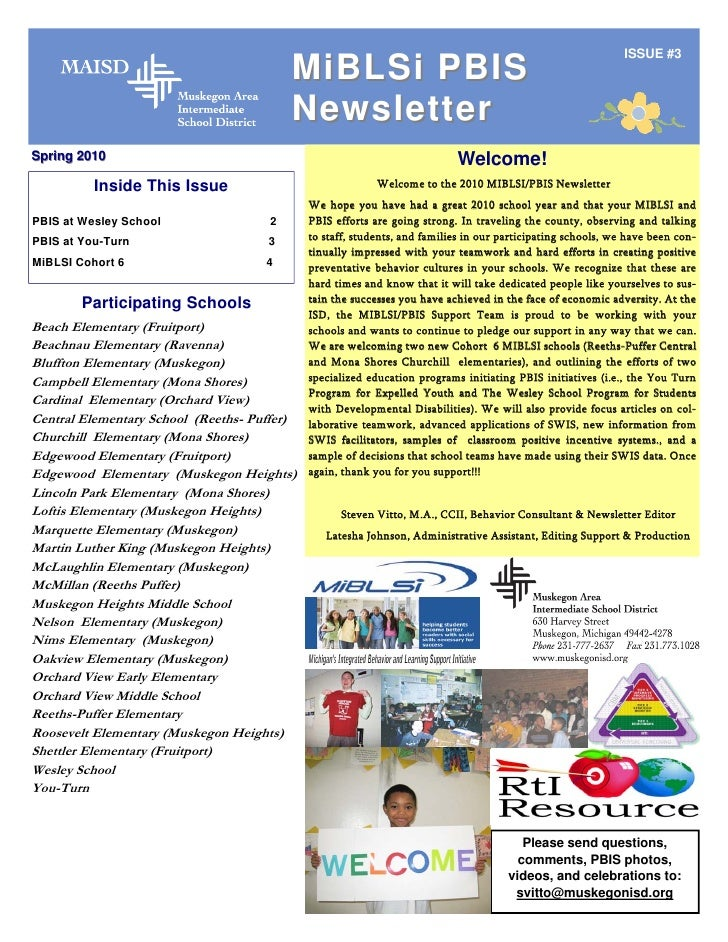 ISSUE #3                                          MiBLSi PBIS                                          Newsletter Spring 2...
