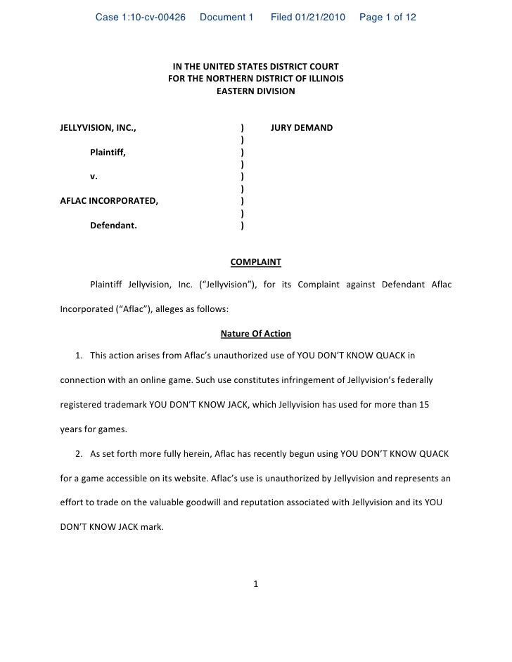 """Case 1:10-cv-00426        Document 1            Filed 01/21/2010     Page 1 of 12                            !""""!#$%!&""""!#%!..."""