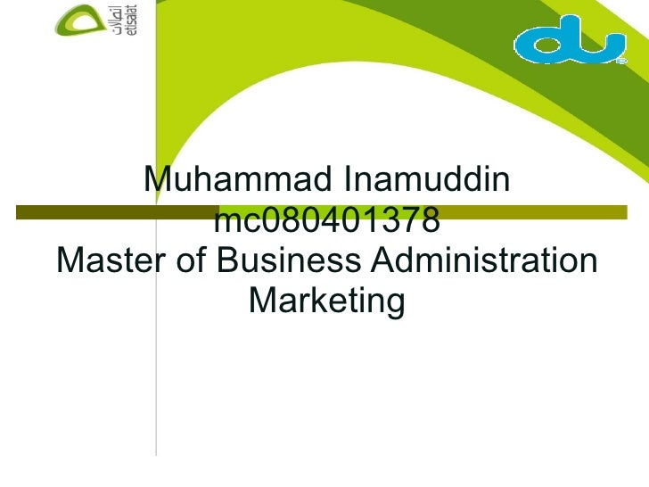 Muhammad Inamuddin mc080401378 Master of Business Administration Marketing
