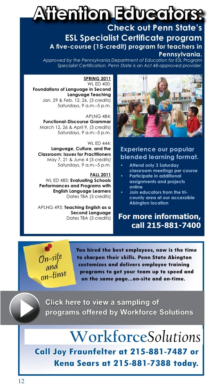 Penn state abington spring 2011 14 attention educators check out penn states esl specialist certificate program 1betcityfo Choice Image