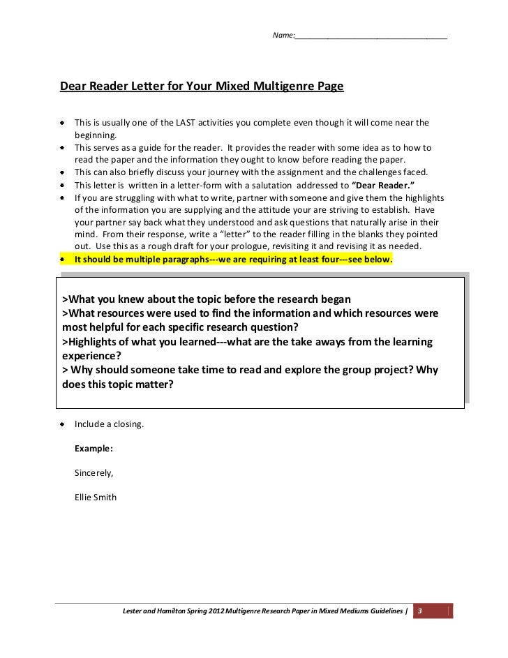 multi genre essays Teaching the multi-genre research paper becky aten  been found that many of these essay/term paper sites are now charging, even for this poorly written.