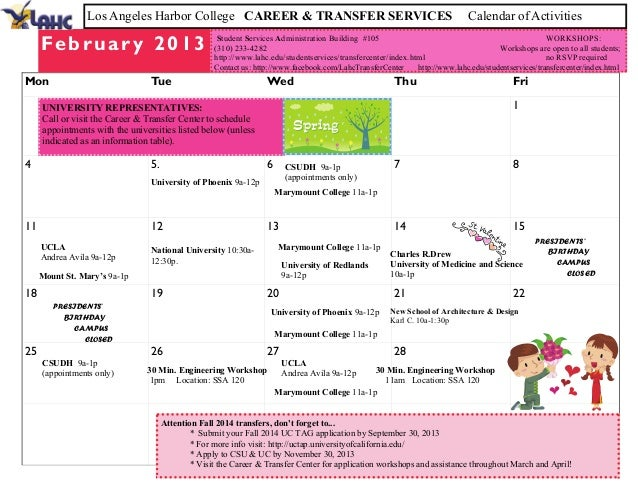 Los Angeles Harbor College CAREER & TRANSFER SERVICES                                                         Calendar of ...