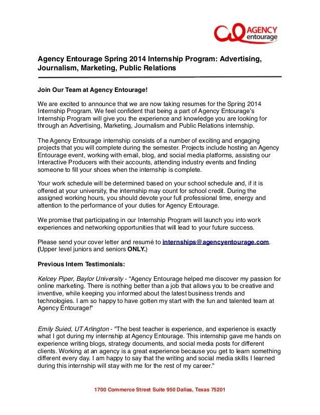 Digital Marketing, Public Relations, Advertising Spring Internship