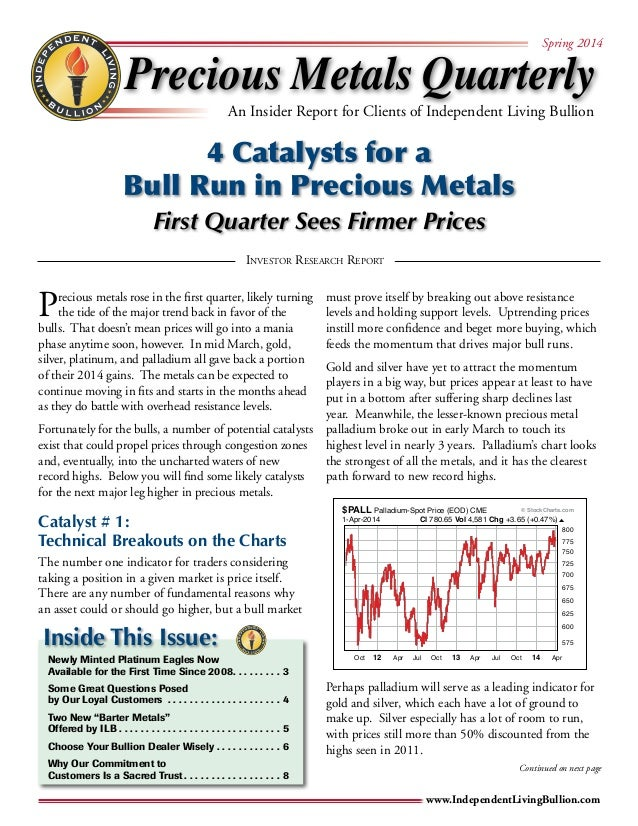 Precious Metals Quarterly  Spring 2014  An Insider Report for Clients of Independent Living Bullion  4 Catalysts for a  Bu...