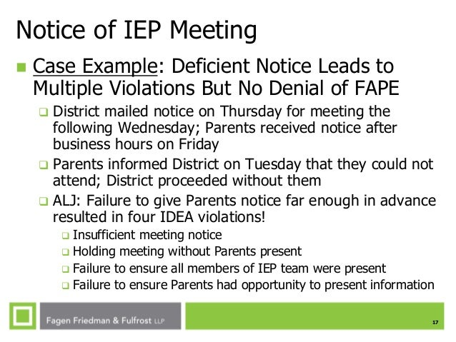 Spring 2014 special education in the modern age parent participatio 17 17 notice of iep meeting spiritdancerdesigns Choice Image