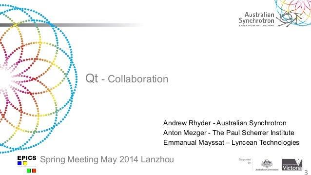 Qt - Collaboration 3 Andrew Rhyder - Australian Synchrotron Anton Mezger - The Paul Scherrer Institute Emmanual Mayssat – ...