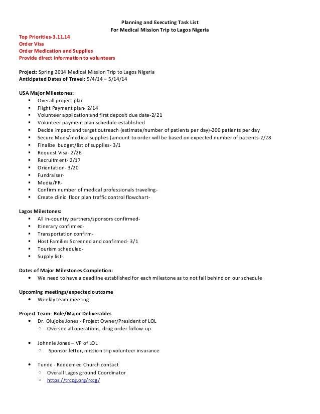 spring 2014 mission trip list of tasks 3 11 14. Black Bedroom Furniture Sets. Home Design Ideas