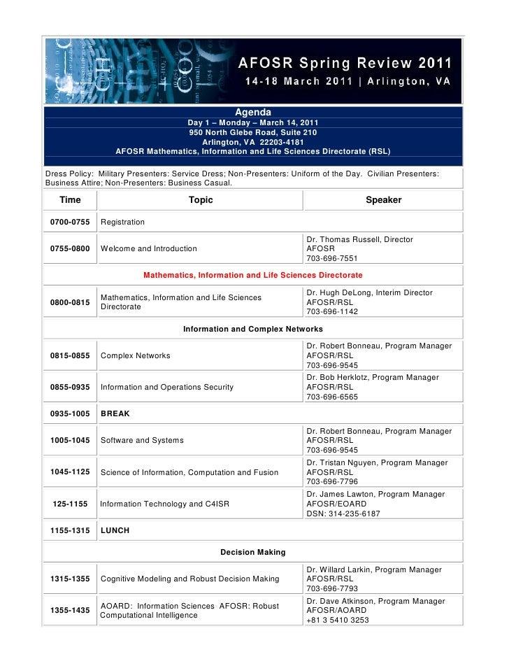 Agenda                                 Day 1 – Monday – March 14, 2011                                 950 North Glebe Roa...
