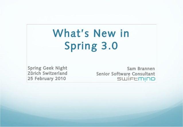What's New in Spring 3.0 Sam Brannen Senior Software Consultant Spring Geek Night Zürich Switzerland 25 February 2010