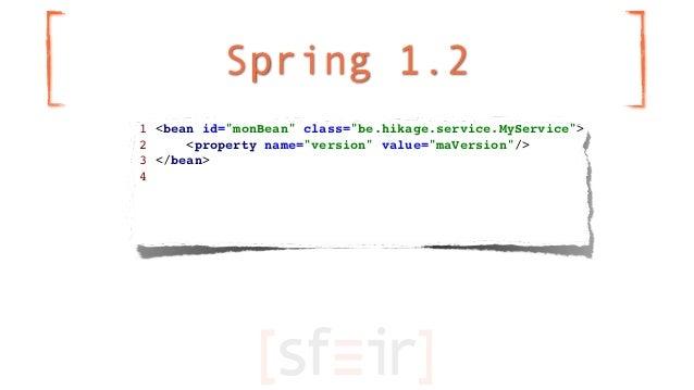 "Spring 1.21 <bean id=""monBean"" class=""be.hikage.service.MyService"">2     <property name=""version"" value=""maVersion""/>3 </b..."