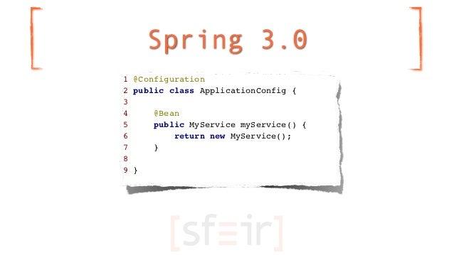 Spring 3.01 @Configuration2 public class ApplicationConfig {34     @Bean5     public MyService myService() {6         retu...