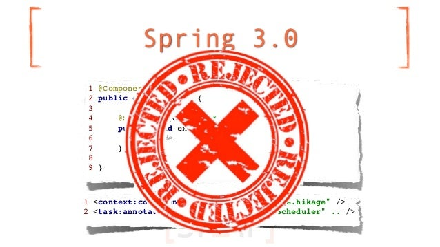 """Spring 3.01 @Component2 public class MyTask {34     @Scheduled(cron=""""* * * * *"""")5     public void execute() {6         // ..."""