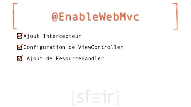 @EnableWebMvcAjout IntercepteurConfiguration de ViewController Ajout de ResourceHandler