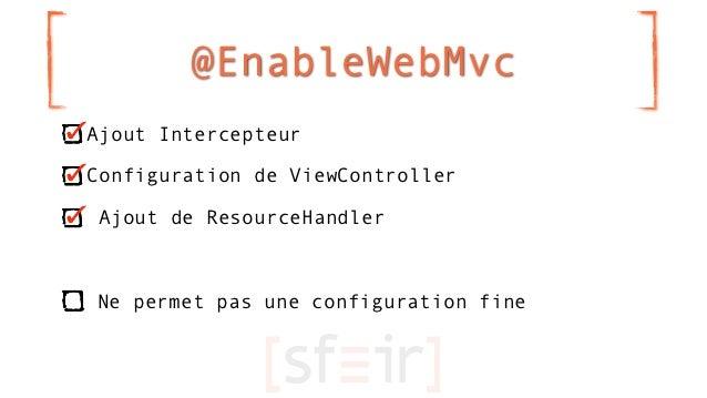 @EnableWebMvcAjout IntercepteurConfiguration de ViewController Ajout de ResourceHandlerNe permet pas une configuration fine
