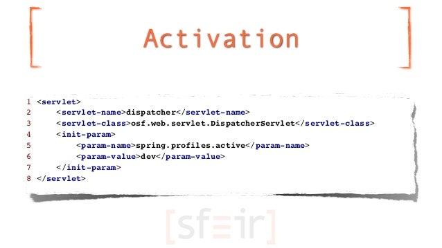 Activation1 <servlet>2     <servlet-name>dispatcher</servlet-name>3     <servlet-class>osf.web.servlet.DispatcherServlet</...