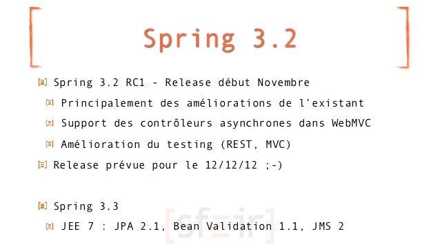 Spring 3.2Spring 3.2 RC1 - Release début Novembre Principalement des améliorations de l'existant Support des contrôleurs a...