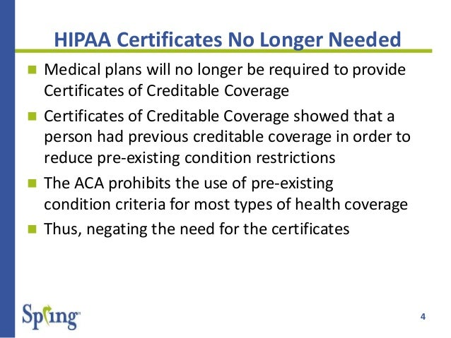 Spring health care reform updates week of 106 1012 4 4 hipaa certificates yadclub Images