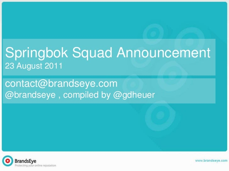Springbok Squad Announcement23 August 2011contact@brandseye.com@brandseye , compiled by @gdheuer