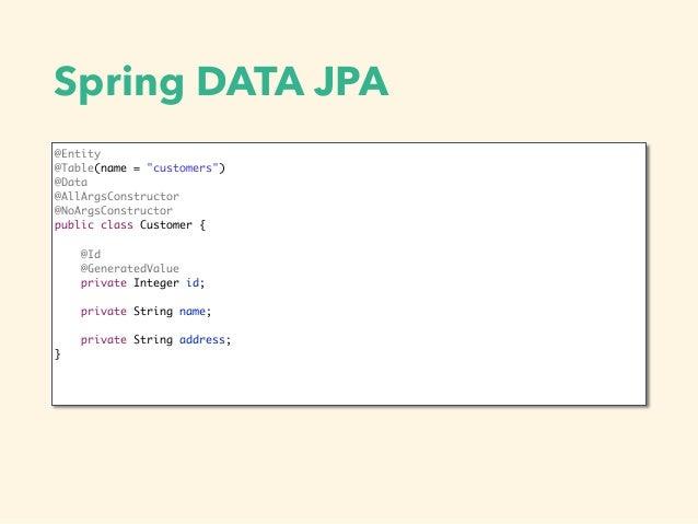 "Spring DATA JPA @Entity @Table(name = ""customers"") @Data @AllArgsConstructor @NoArgsConstructor public class Customer { @I..."