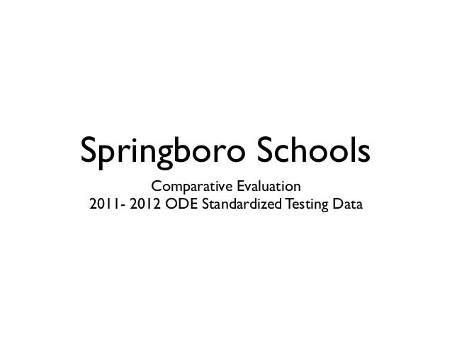 Springboro Schools         Comparative Evaluation2011- 2012 ODE Standardized Testing Data