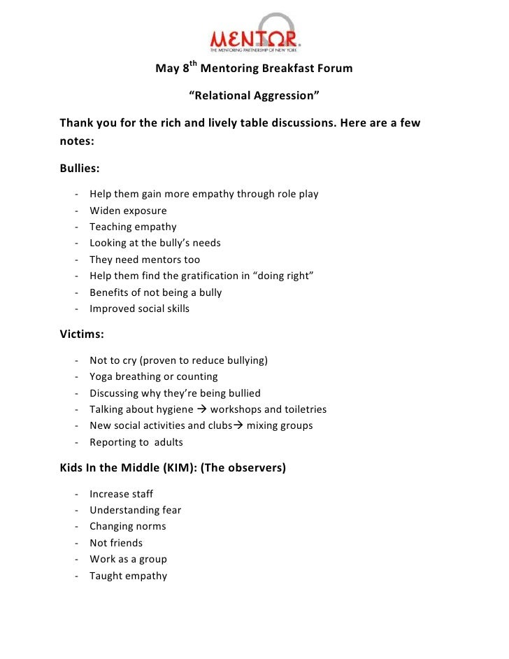 """May 8th Mentoring Breakfast Forum                           """"Relational Aggression""""Thank you for the rich and lively table..."""