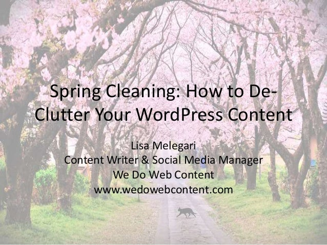 Spring Cleaning: How to De-  Clutter Your WordPress Content  Lisa Melegari  Content Writer & Social Media Manager  We Do W...