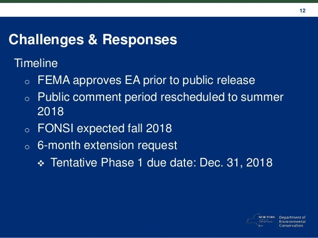 12 Challenges & Responses Timeline o FEMA approves EA prior to public release o Public comment period rescheduled to summe...