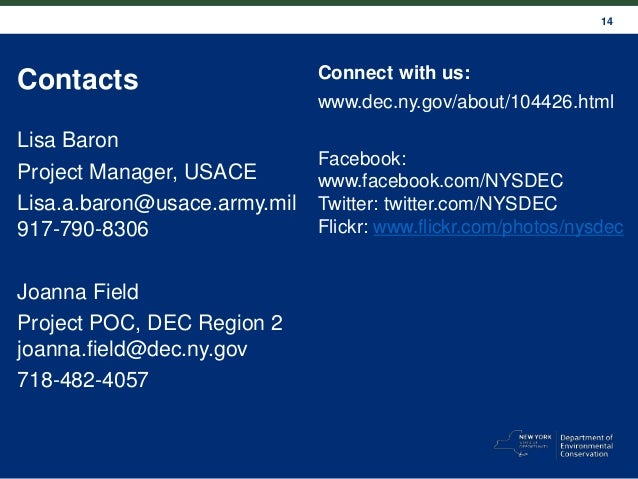 14 Contacts Lisa Baron Project Manager, USACE Lisa.a.baron@usace.army.mil 917-790-8306 Joanna Field Project POC, DEC Regio...