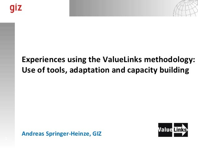 Experiences using the ValueLinks methodology:    Use of tools, adaptation and capacity building    Andreas Springer-Heinze...