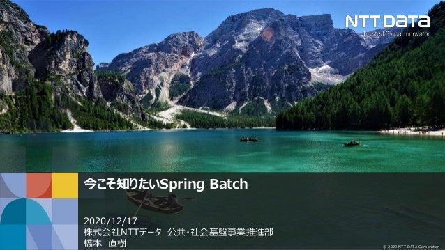 © 2020 NTT DATA Corporation 今こそ知りたいSpring Batch 2020/12/17 株式会社NTTデータ 公共・社会基盤事業推進部 橋本 直樹