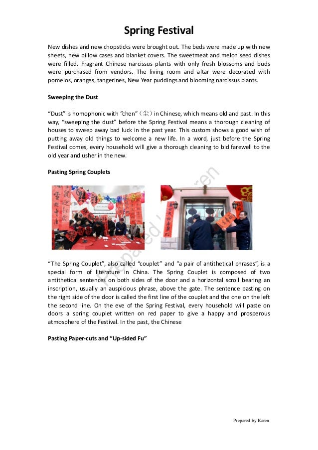 Spring Festival Prepared by Karen New dishes and new chopsticks were brought out. The beds were made up with new sheets, n...
