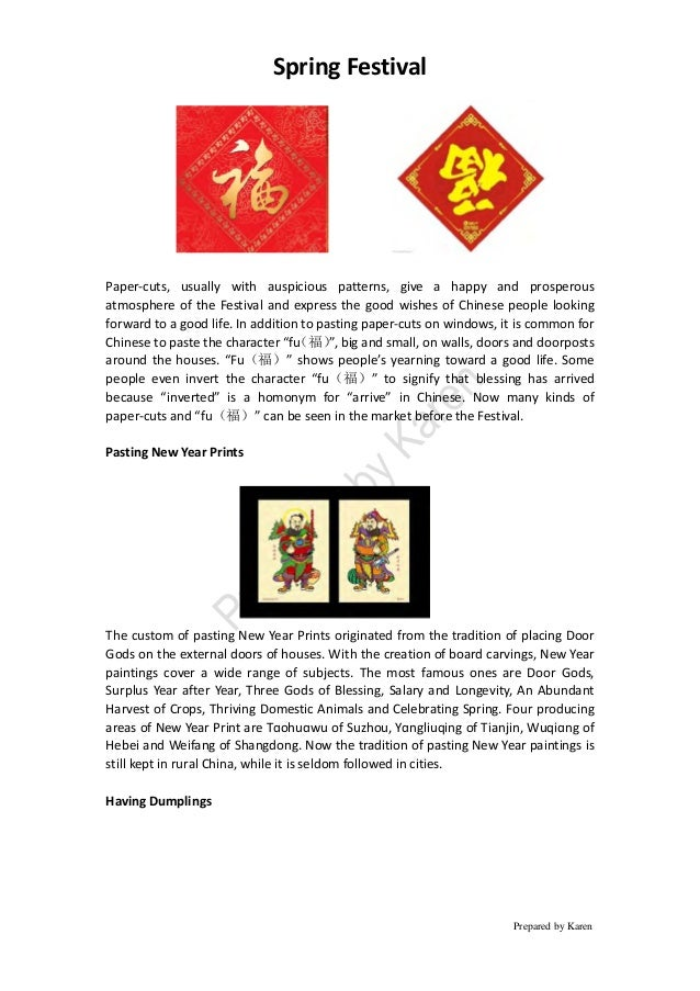 Spring Festival Prepared by Karen Paper-cuts, usually with auspicious patterns, give a happy and prosperous atmosphere of ...