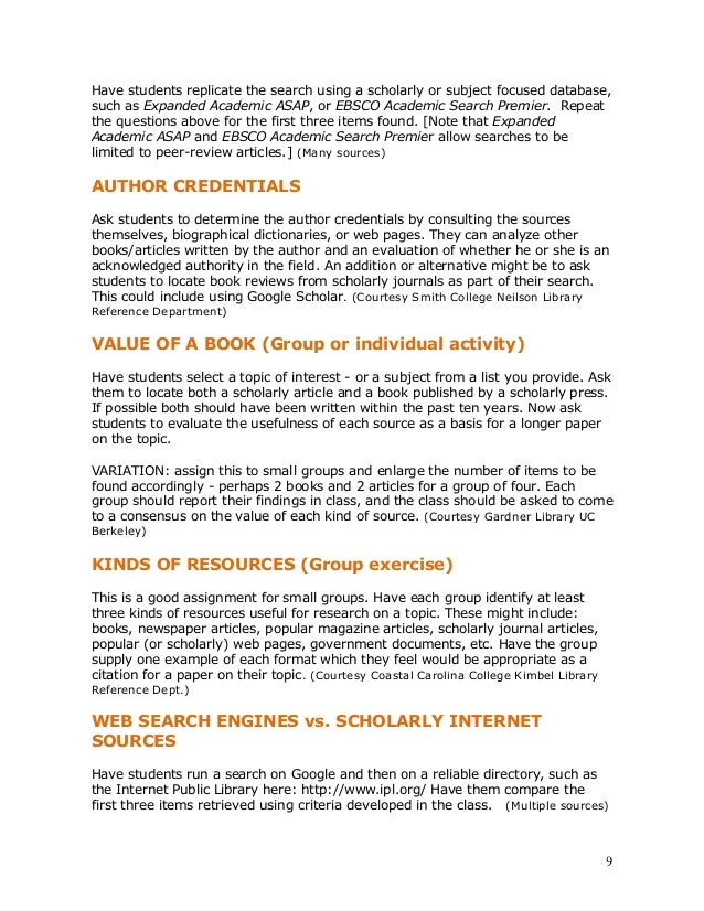 assignment information literacy This assignment was created for an introductory nutrition course for health related science majors and nonmajors to meet the information literacy flag criteria for the core standards at loyola marymount university the assignment focuses on the evaluation of a primary and secondary source on a specific topic to assess the similarities and differences between the sources of information.