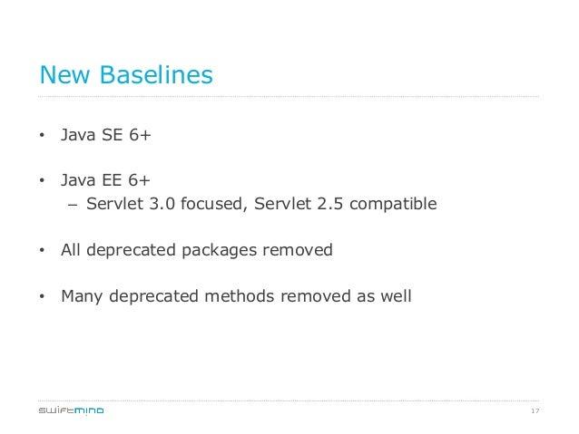 New Baselines • Java SE 6+ • Java EE 6+ – Servlet 3.0 focused, Servlet 2.5 compatible • All deprecated packages remove...