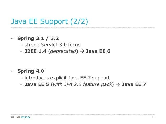 Java EE Support (2/2) • Spring 3.1 / 3.2 – strong Servlet 3.0 focus – J2EE 1.4 (deprecated) à Java EE 6  • Spring 4.0...