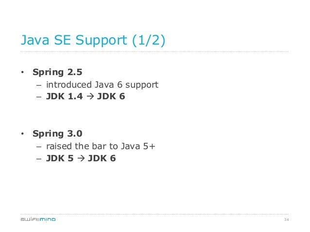 Java SE Support (1/2) • Spring 2.5 – introduced Java 6 support – JDK 1.4 à JDK 6  • Spring 3.0 – raised the bar to J...