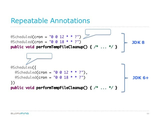"""Repeatable Annotations Repeated  @Scheduled(cron = """"0 0 12 * * ?"""") @Scheduled(cron = """"0 0 18 * * ?"""") public void perform..."""
