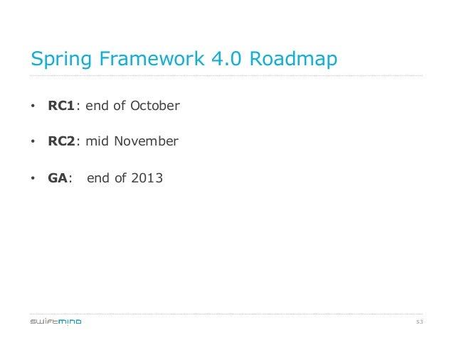 Spring Framework 4.0 Roadmap • RC1: end of October • RC2: mid November • GA:  end of 2013  53