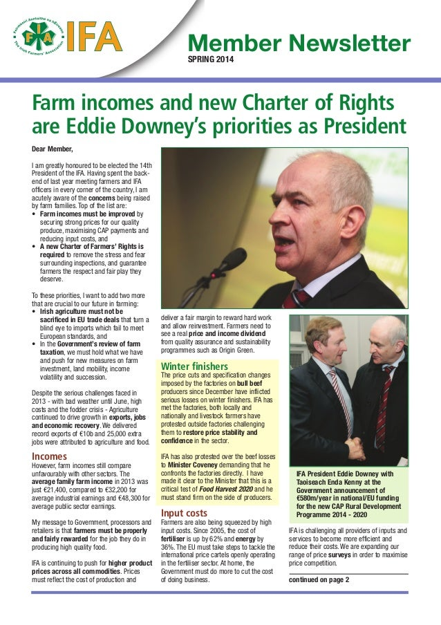 Farm incomes and new Charter of Rights are Eddie Downey's priorities as President Dear Member, I am greatly honoured to be...