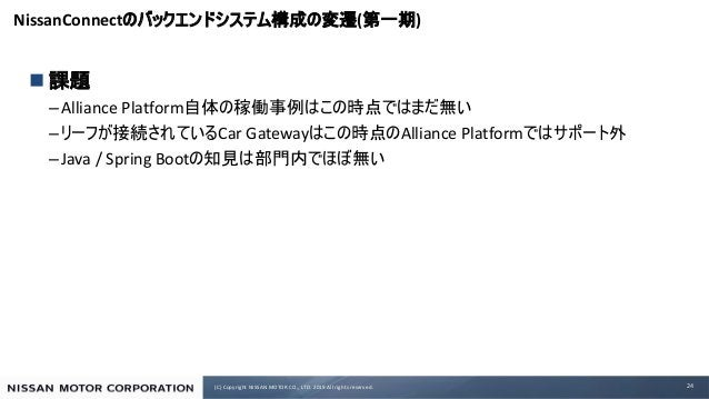 (C) Copyright NISSAN MOTOR CO., LTD. 2019 All rights reserved. NissanConnect ( ) n –Alliance Platform – Car Gateway Allian...