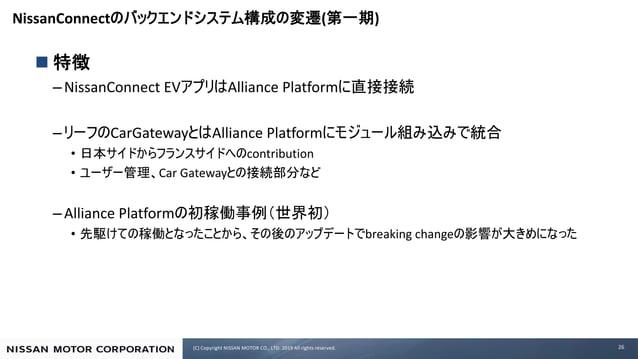 (C) Copyright NISSAN MOTOR CO., LTD. 2019 All rights reserved. NissanConnect ( ) n –NissanConnect EV Alliance Platform – C...