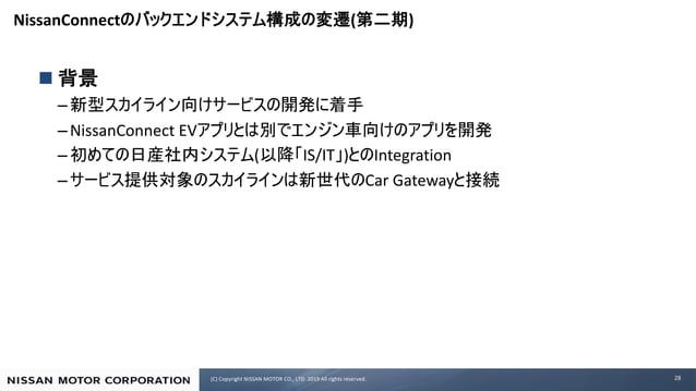 (C) Copyright NISSAN MOTOR CO., LTD. 2019 All rights reserved. NissanConnect ( ) n – –NissanConnect EV – ( IS/IT ) Integra...