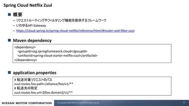 (C) Copyright NISSAN MOTOR CO., LTD. 2019 All rights reserved. Spring Cloud Netflix Zuul n – – API Gateway – https://cloud...