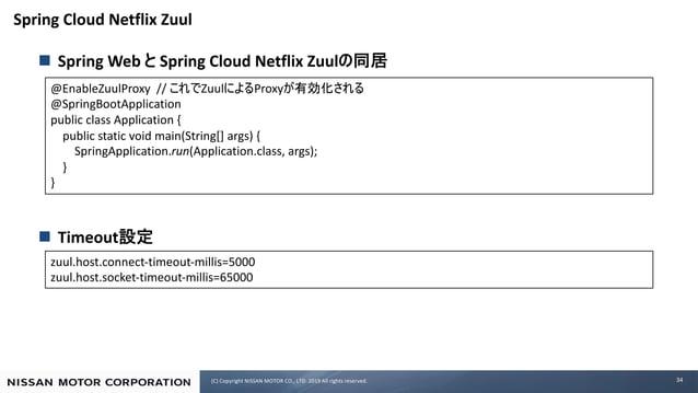 (C) Copyright NISSAN MOTOR CO., LTD. 2019 All rights reserved. Spring Cloud Netflix Zuul n Spring Web Spring Cloud Netflix...