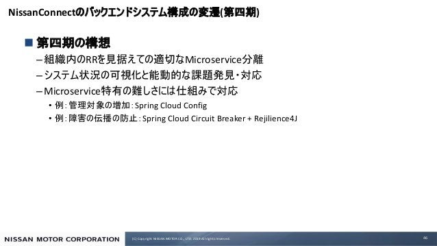 (C) Copyright NISSAN MOTOR CO., LTD. 2019 All rights reserved. NissanConnect ( ) n – RR Microservice – –Microservice • Spr...