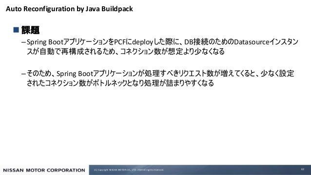 (C) Copyright NISSAN MOTOR CO., LTD. 2019 All rights reserved. Auto Reconfiguration by Java Buildpack n –Spring Boot PCF d...