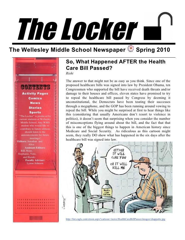 The Locker The Wellesley Middle School Newspaper                                                             Spring 2010  ...